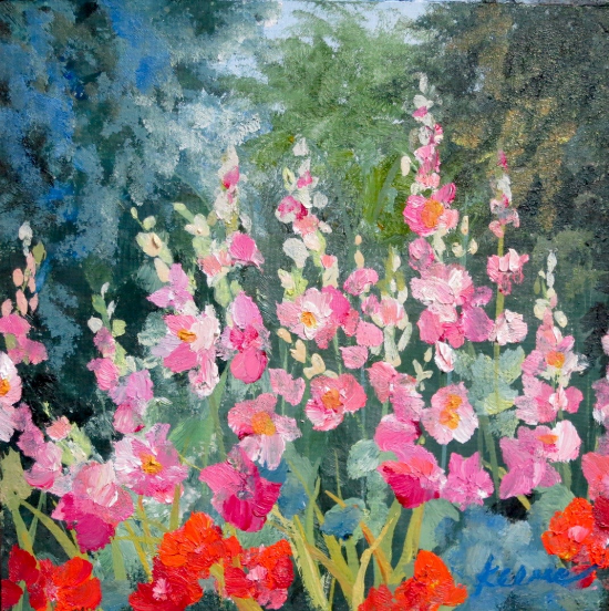 """Mary's Hollyhocks""   5""x 5""    Oil on paper panel    $50"