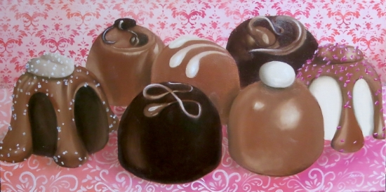 """Santa Fe Chocolates""  12"" x  24""  Oil on museum wrapped canvas   $500"