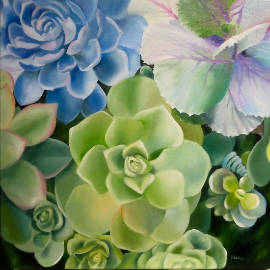 "Succulents and Cabbage   24"" x 24""  oil on wrapped canvas   $600"