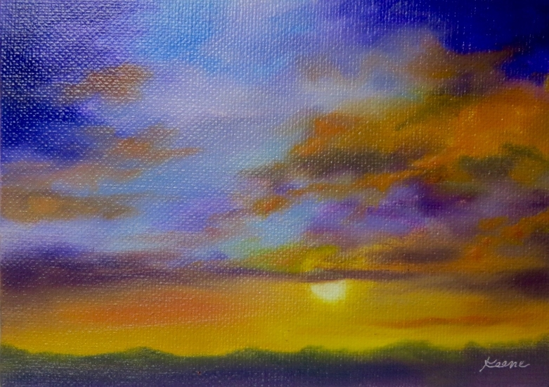 "Royal Sunset  5"" x 7""  Oil on canvas panel  $50"