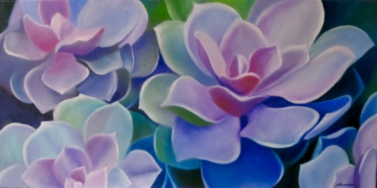 "Serendipitous Succulents   12"" x 24""  oil on museum wrapped canvas  $350"