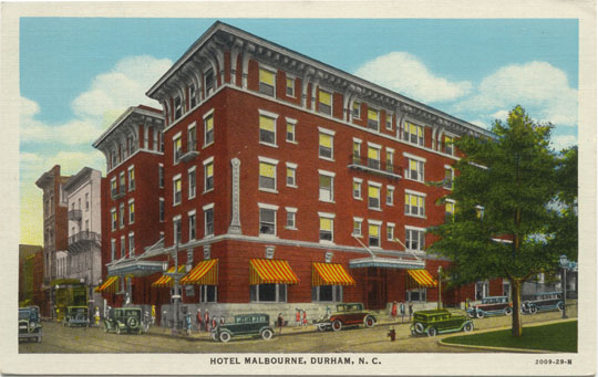 The Malbourne Hotel which once stood at the northwest corner of Main Street at Roxboro Street in Durham, North Carolina