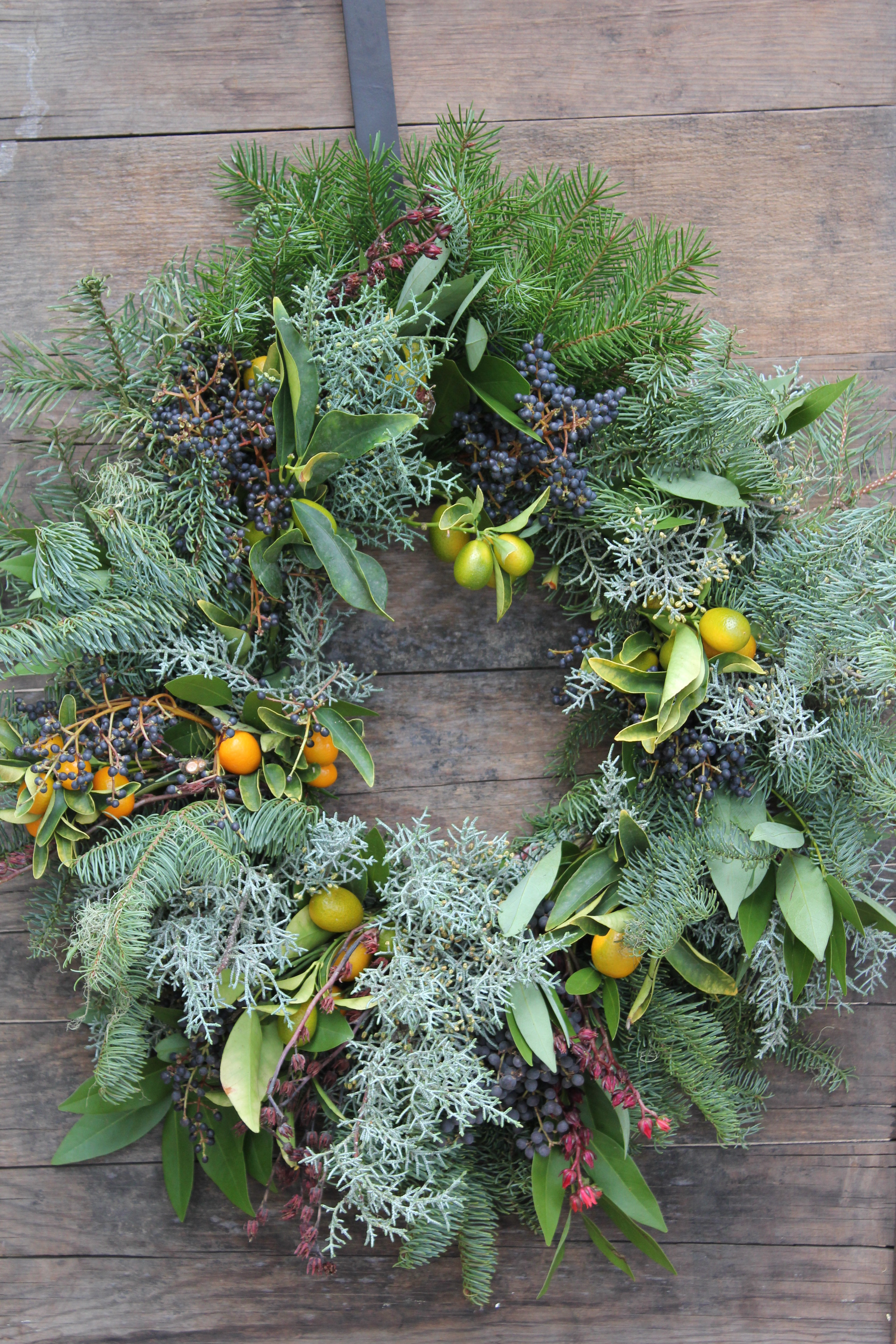 All local greens used to create a deliciously fragrant wreath.