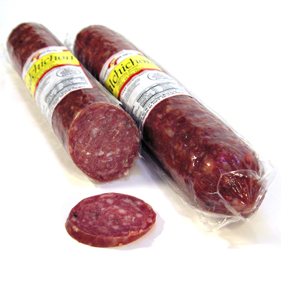 Salchichon.    Our salchichon is a dry cured product that is ready to be sliced and eaten. The primary difference between chorizo and salchichón is that salchichón uses no pimentón de La Vera. Our Despaña Brand dry-cured salchichón does have small peppercorns, which are visible to the eye and give this meat a delightful peppery taste. Our salchichón is very savory and perfect on its own as charcuterie, with a glass of Manzanilla sherry, or as part of a bocadillo or sandwich.    TASTING NOTES:   You will taste some savory and garlicky flavors, with a peppery finish.    SPECIFICATIONS:   Vacuum sealed.   Approximate weight: 1.5-2.0 lbs.   Each unit is 13 inches long by 2 1/2 inches diameter.   Natural casings. All pork product.   Fully cooked. Proudly made in the USA   45 day shelf life.    Due to the artisanal nature of this product, weight will vary from unit to unit. The price listed is an approximation, but a reliable representation of the cost per unit.