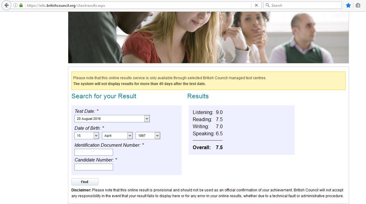 Albert's online IELTS results
