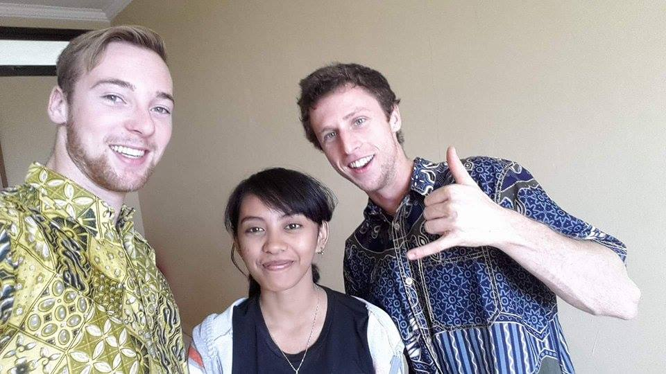 Sari with Laurence and Jo - showing off their batik shirts
