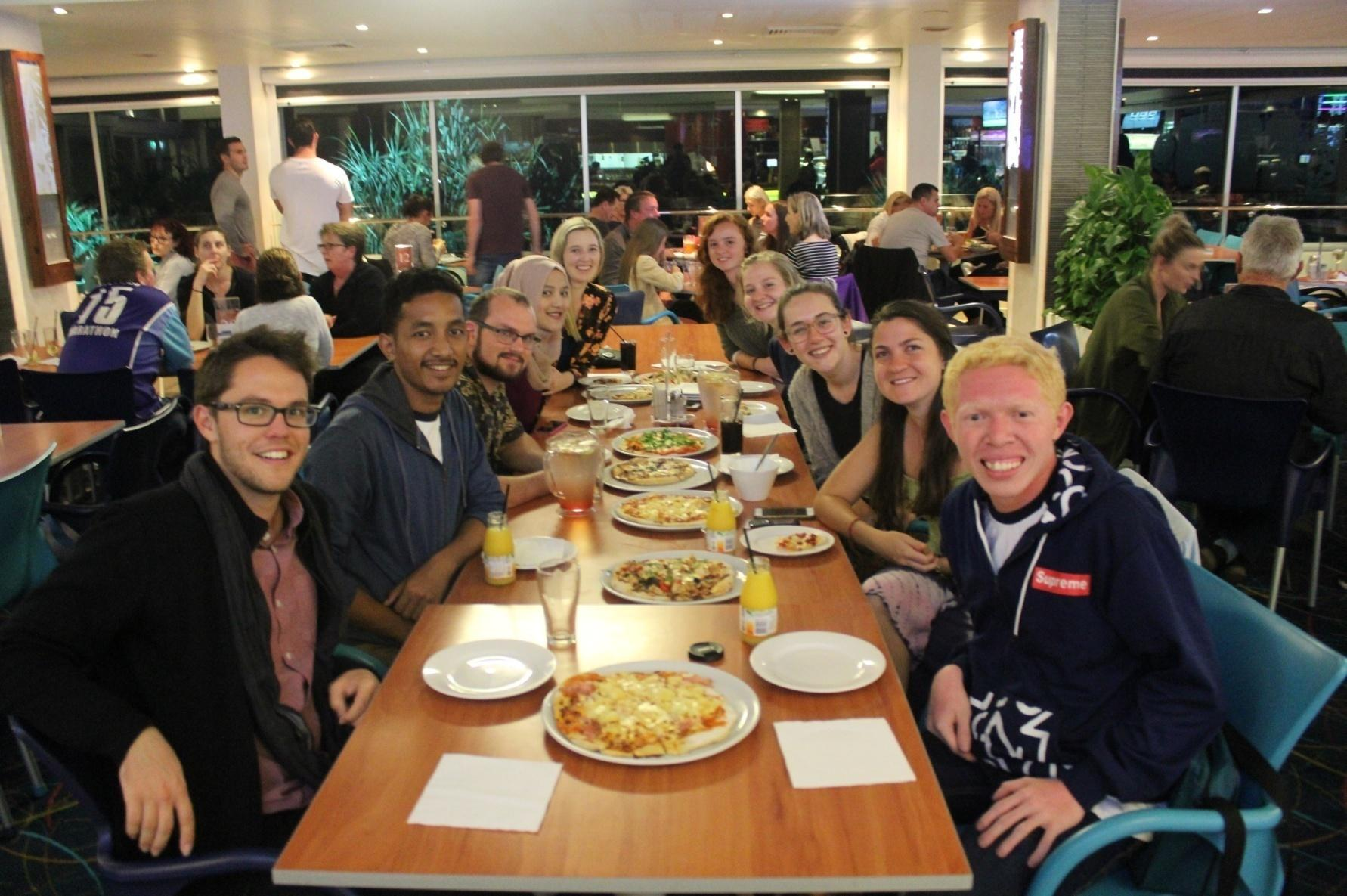 Doing some small talk about UniBRIDGE Project with members of AIYA QLD and pizza dinner in Sunshine Coast Surfing Club.