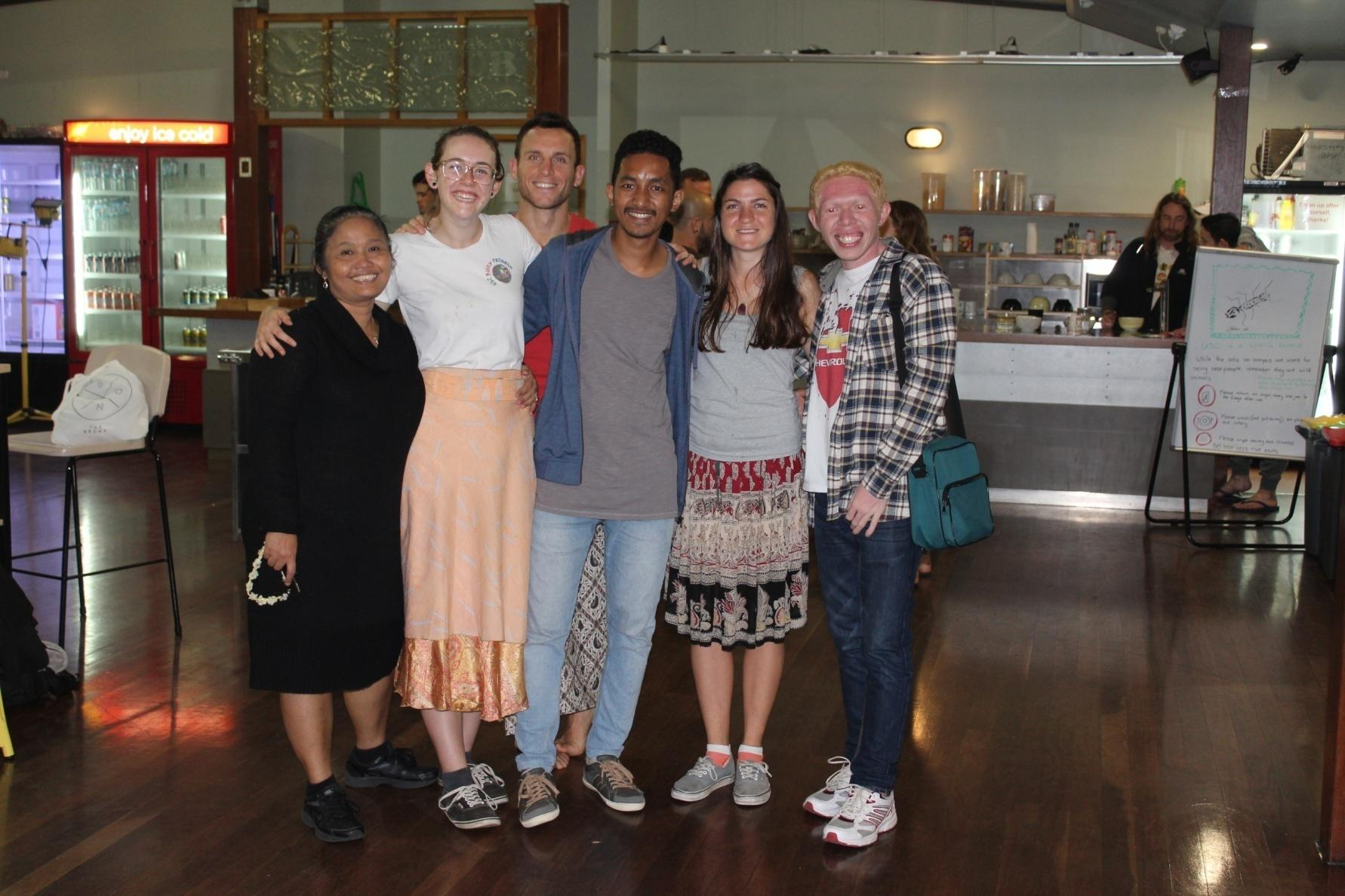 Taking picture with Ibu Endah Curtis, Amy Della-Torre, Mandula Barta and some guy in International Food Festival, USC.