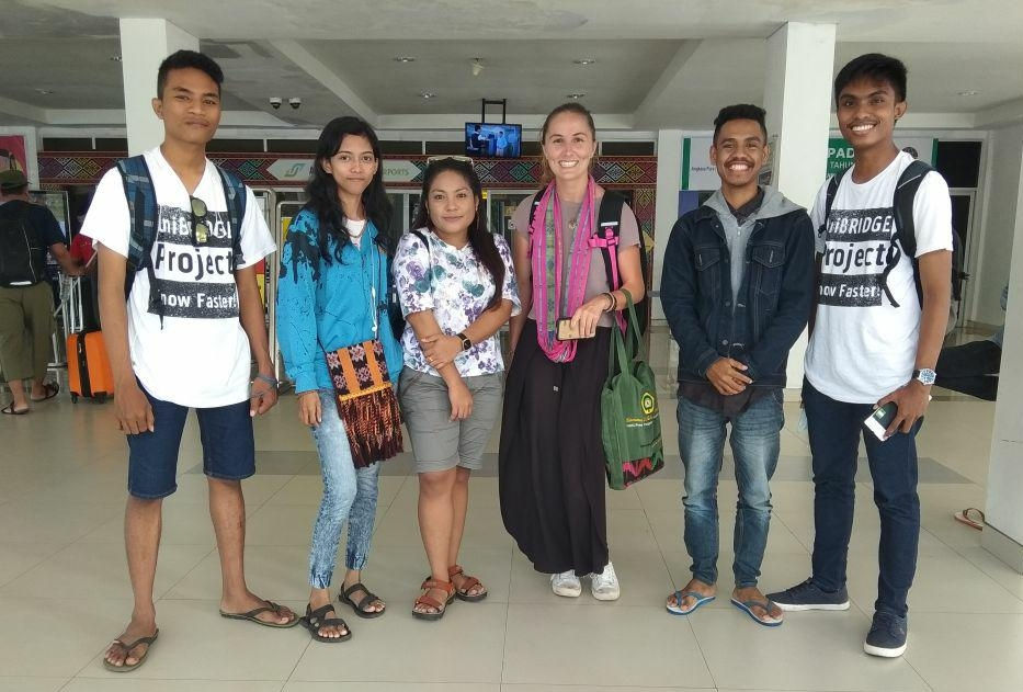 Indonesian UniBRIDGE friends meeting Rae at the airport in Kupang