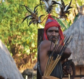 Traditional bow and arrow weapon of Alor, Indonesia