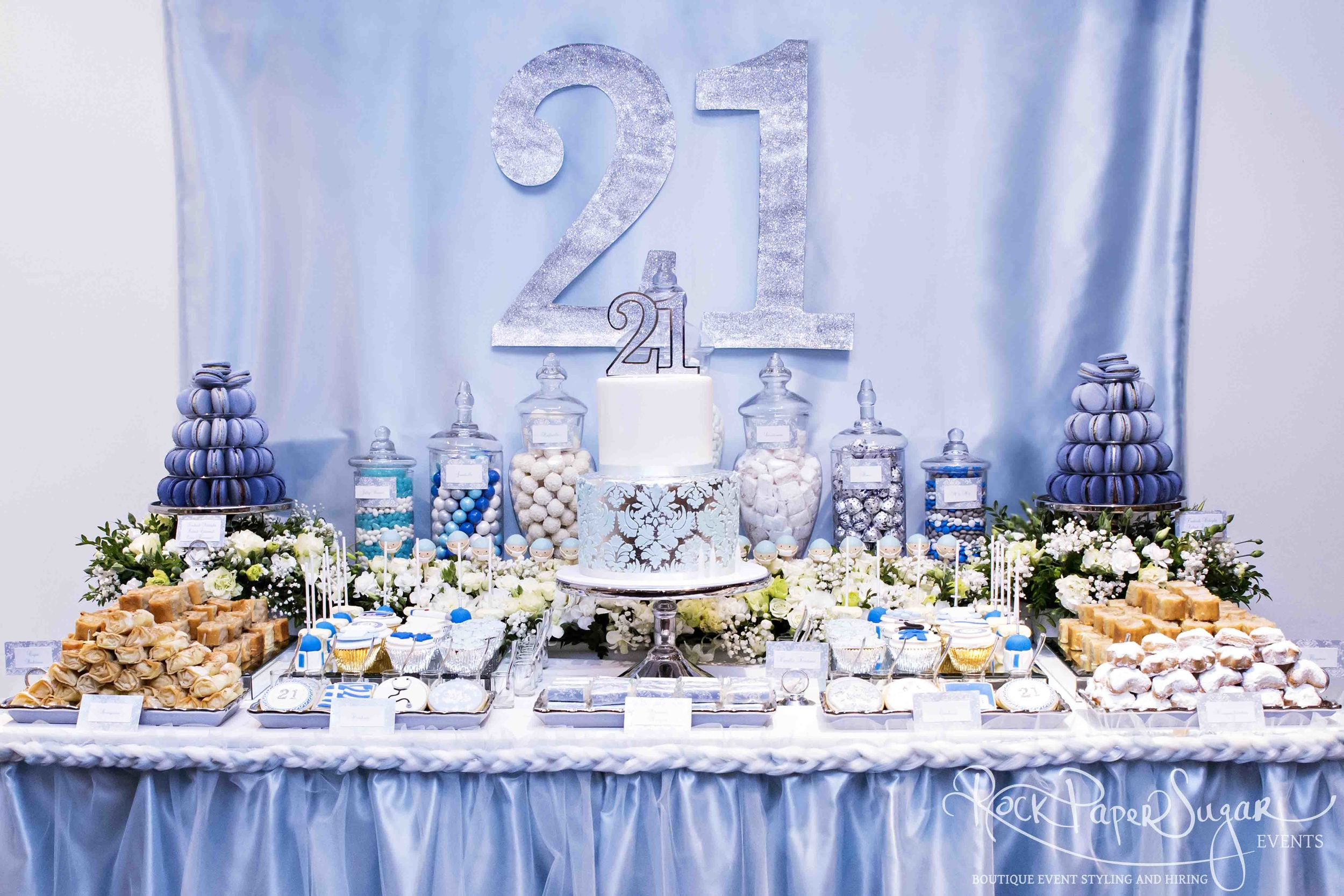 21st Birthday ~ Dessert Table, Floral Arrangements, Room Set up,Invitations         Hi Kathleen! I just wanted to say a massive thank you for all your hard work with the dessert table, invites and decorations - it looked absolutely STUNNING!  No one could take their eyes off it! The little cupcakes and cakepops were fantastic, and everyone loved the Greek desserts! The cake was a real standout, it was delicious! Thanks again for everything Kathleen! I couldn't have done it without you!   💕💕💕    Vicki