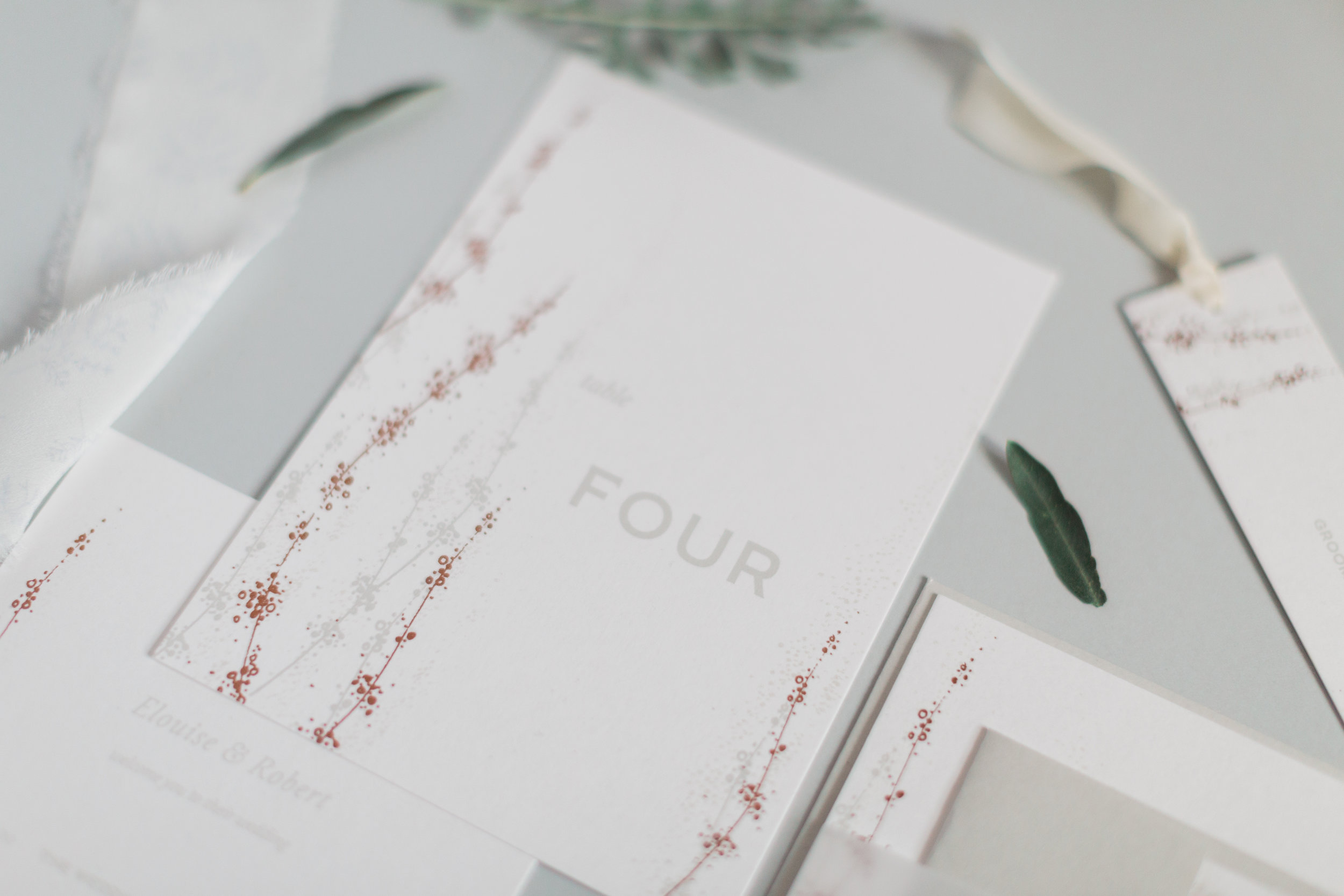 Inkflower Press silkscreen printed Winter Seedheads wedding stationery suite - Copper