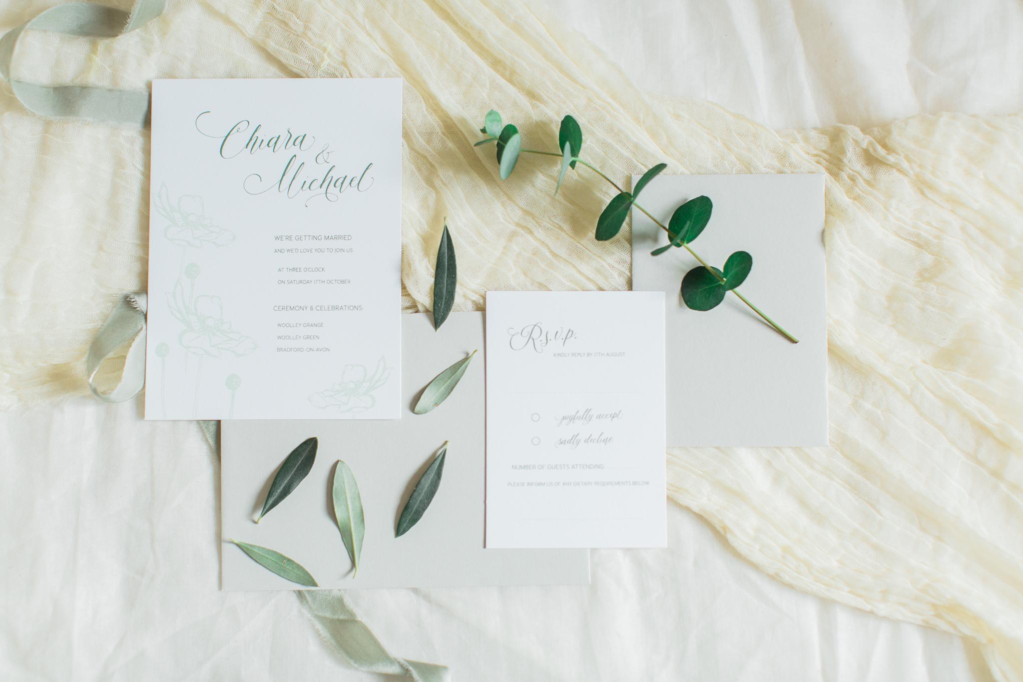 Inkflower Press Anemone silkscreen printed wedding invitation suite - Verdigris
