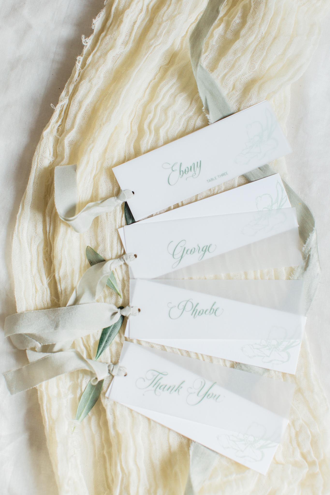 Inkflower Press Anemone silkscreen printed wedding place cards - Verdigris