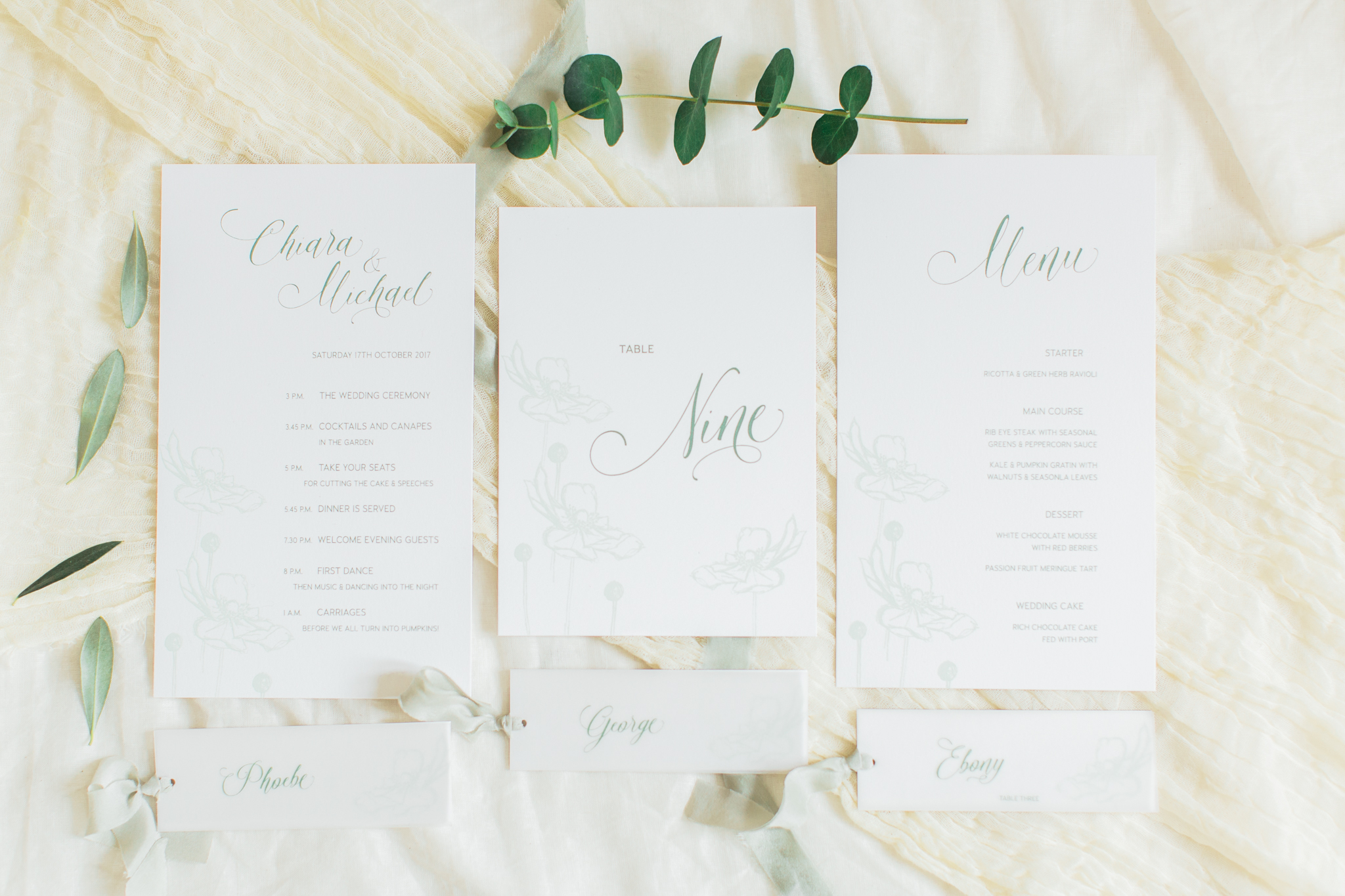 Inkflower Press Anemone silkscreen printed wedding stationery - Verdigris