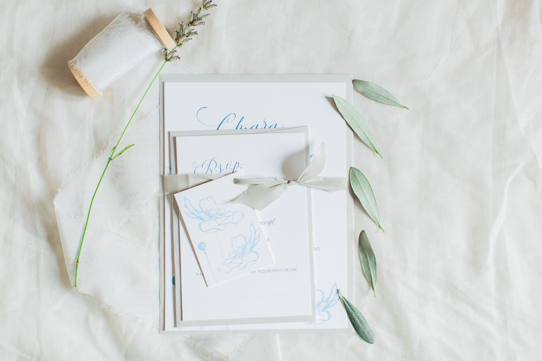 Inkflower Press Anemone silkscreen printed wedding invitation suite - Copenhagen Blue