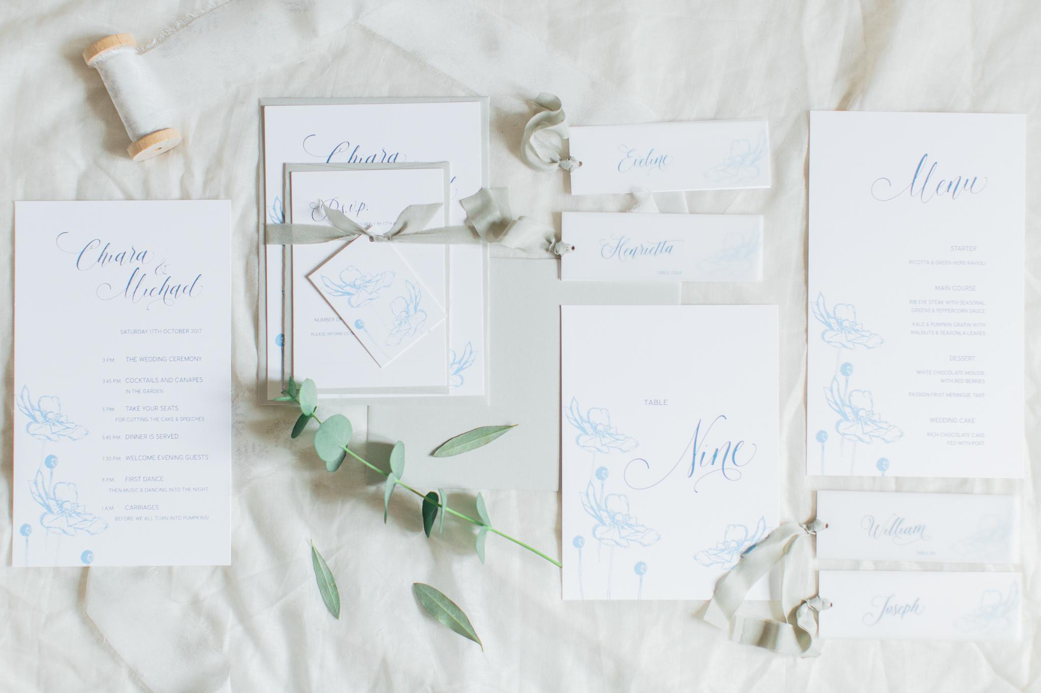 Inkflower Press Anemone silkscreen printed wedding stationery - Copenhagen Blue