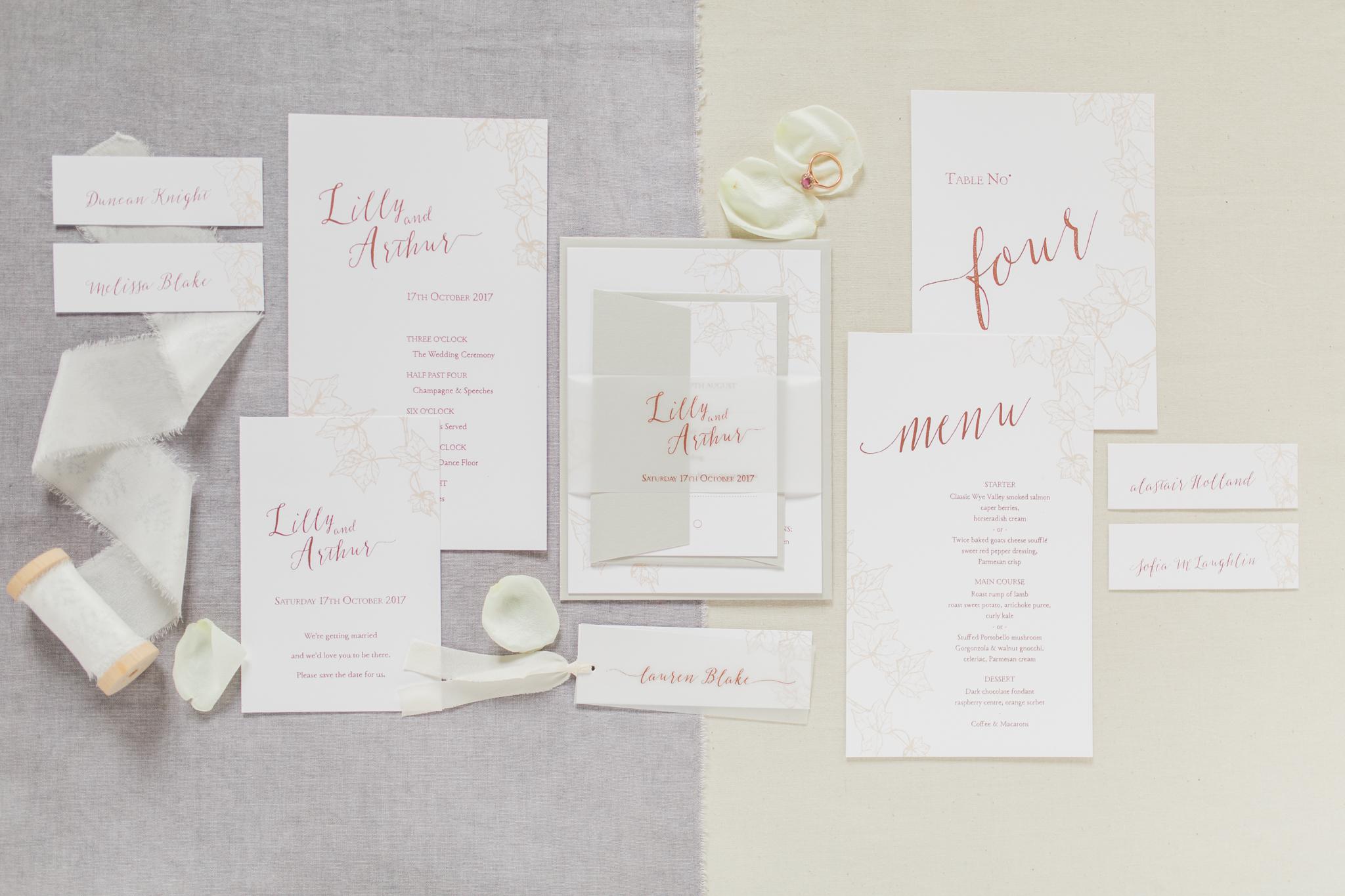 Inkflower Press Ivy silkscreen printed wedding stationery - Copper Blush