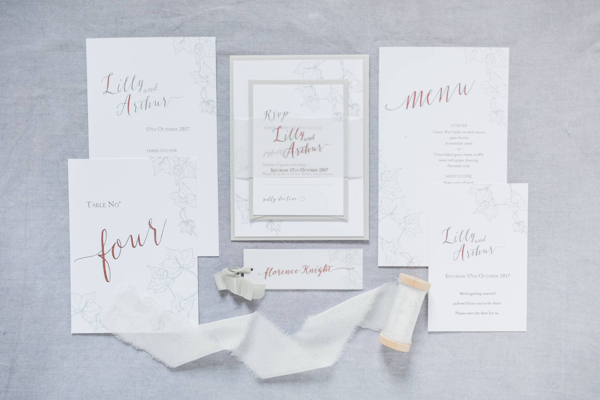 Inkflower Press Ivy silkscreen printed wedding stationery - Copper Slate
