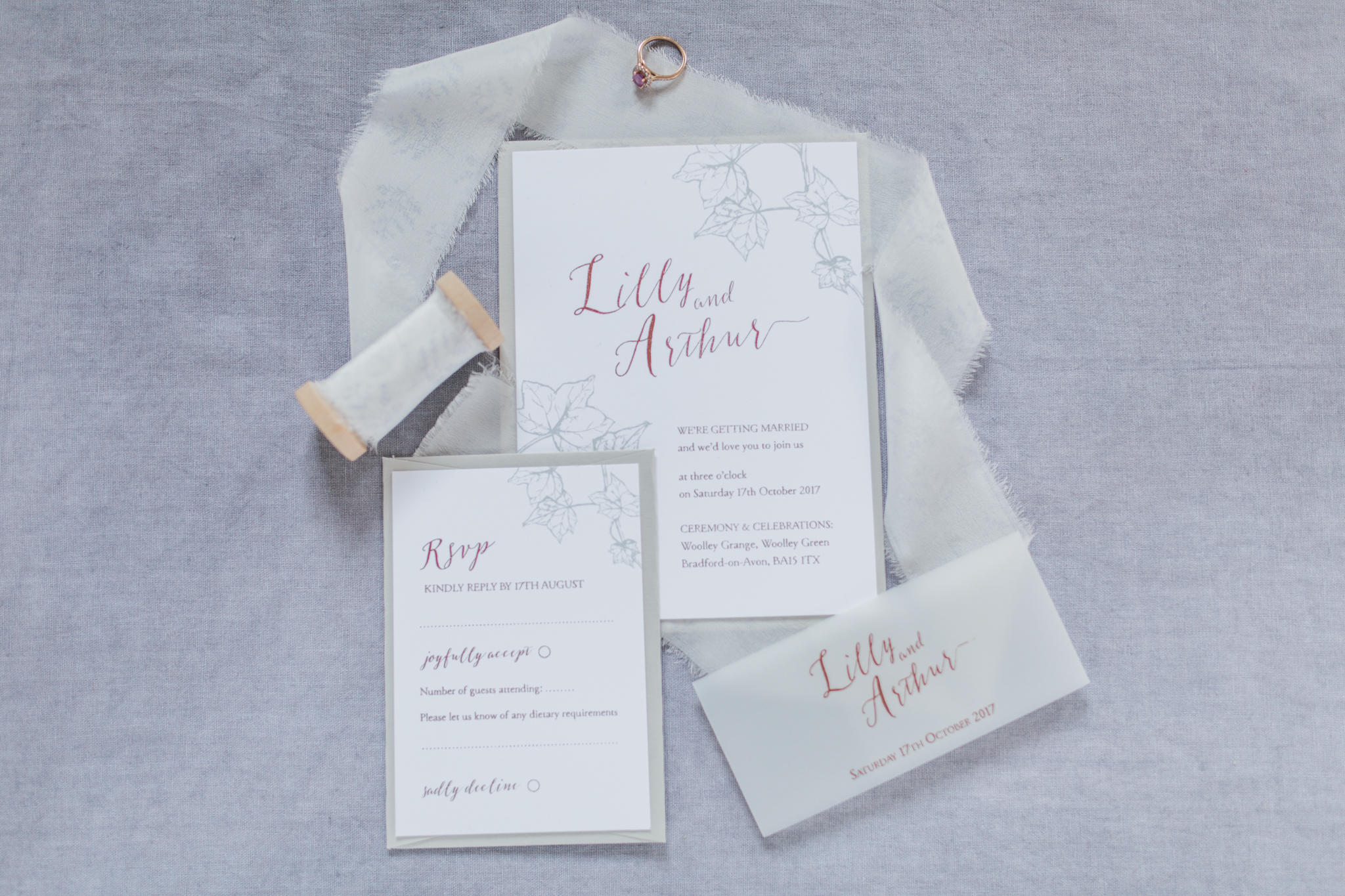 Inkflower Press Ivy silkscreen printed wedding invitation suite - Copper Slate