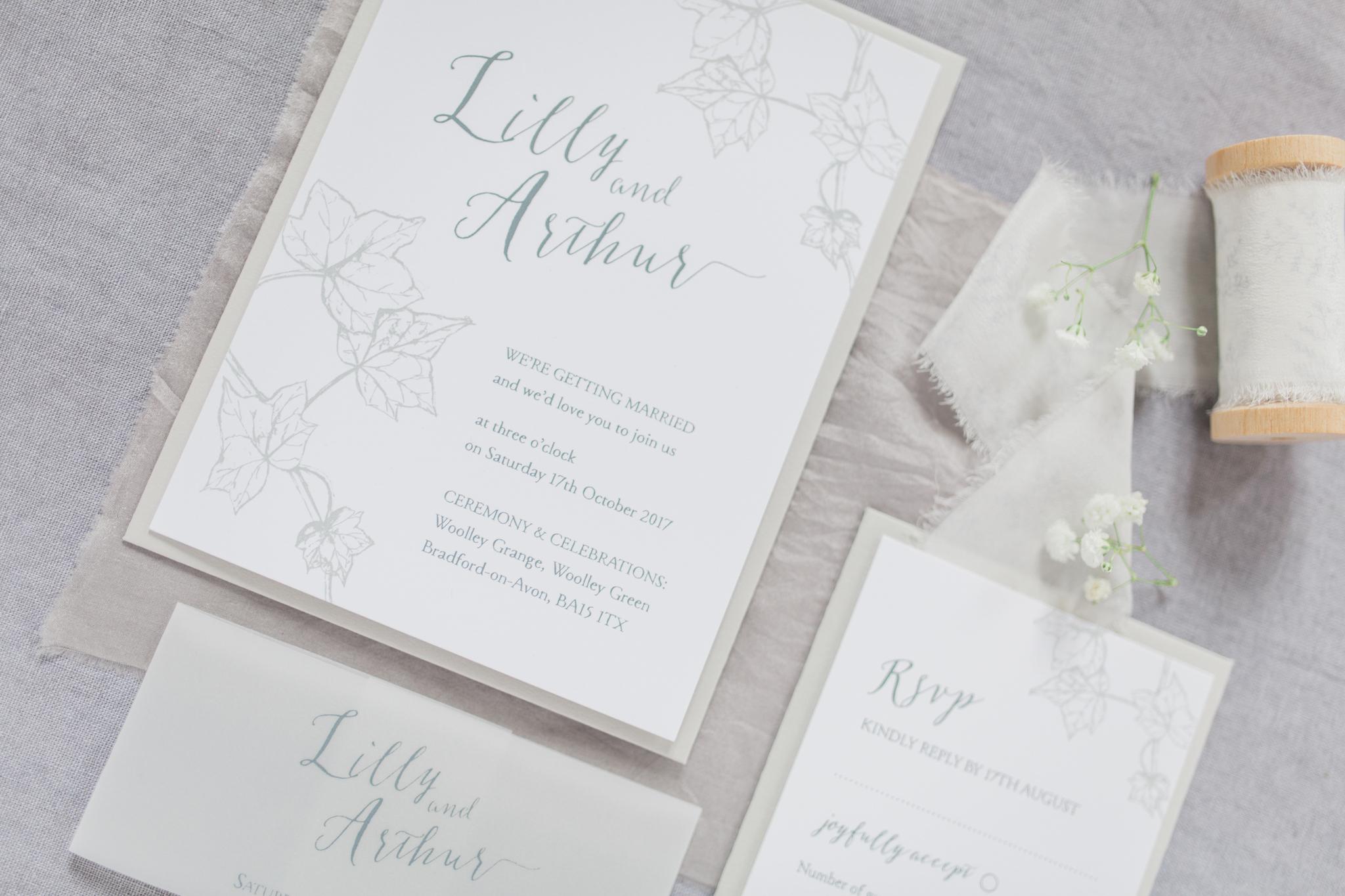Inkflower Press Ivy silkscreen printed wedding invitation suite - Pebble Grey