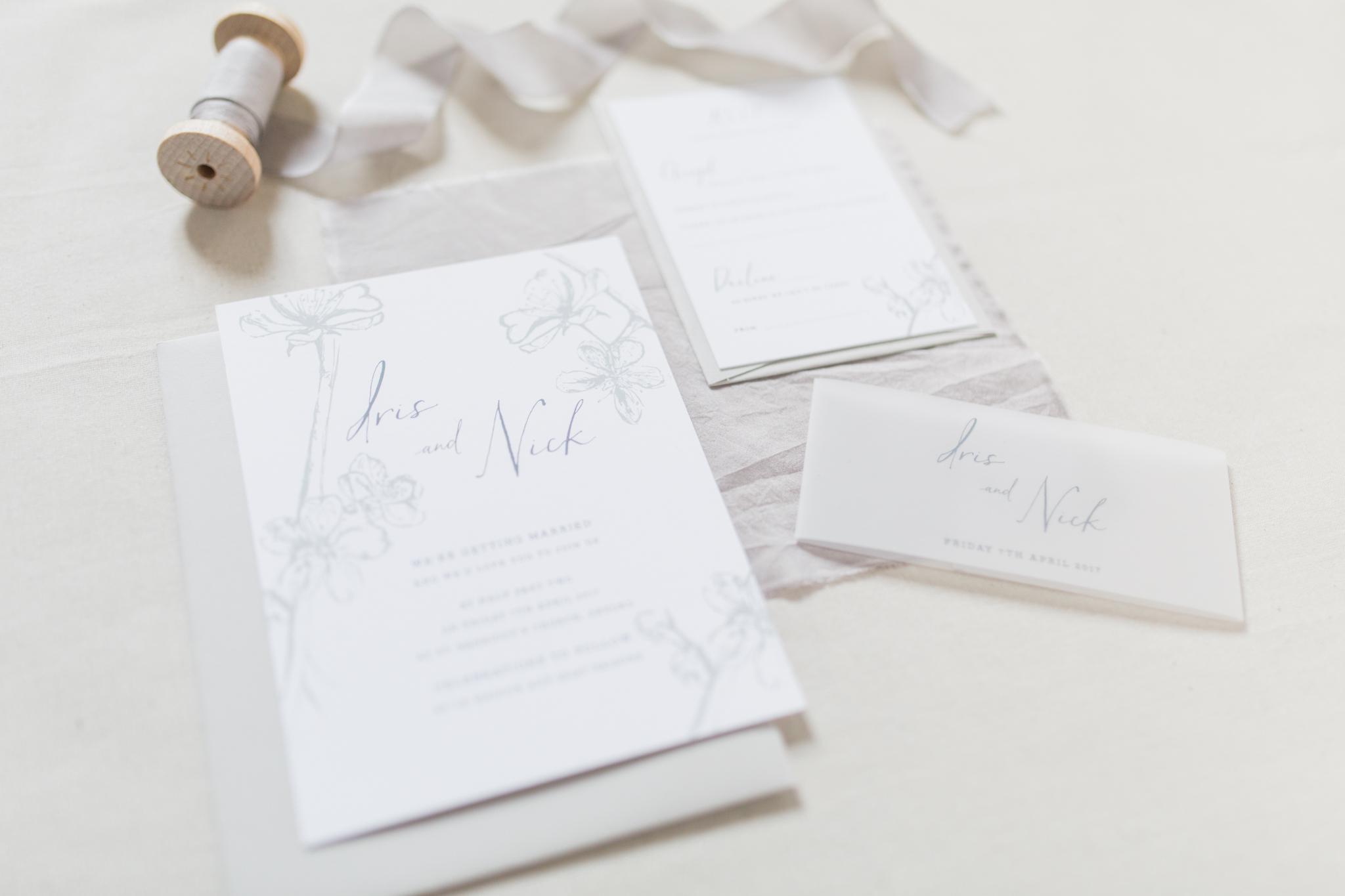 Inkflower Press Plum Blossom silkscreen printed wedding invitation suite - Pebble Grey