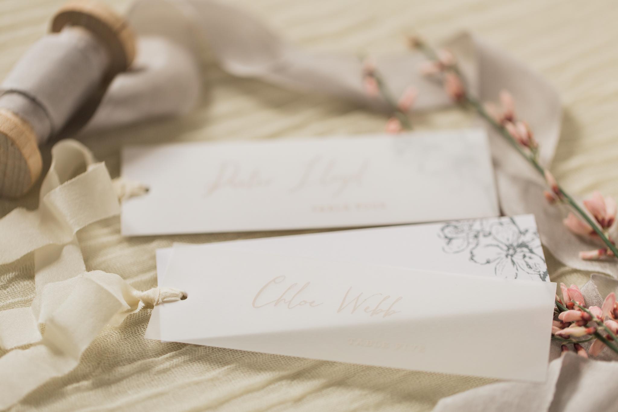 Inkflower Press Plum Blossom silkscreen printed wedding place cards - Blush Slate