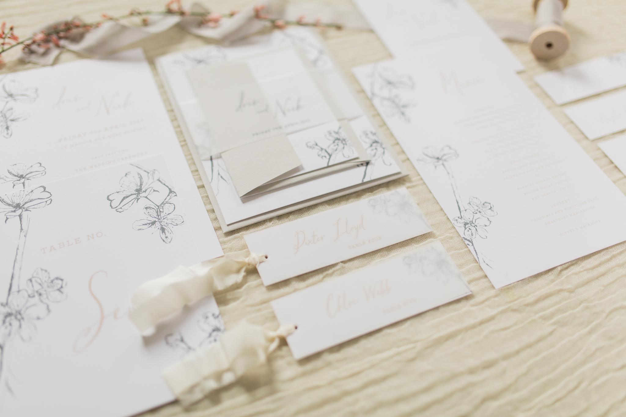 Inkflower Press Plum Blossom silkscreen printed wedding stationery - Blush Slate