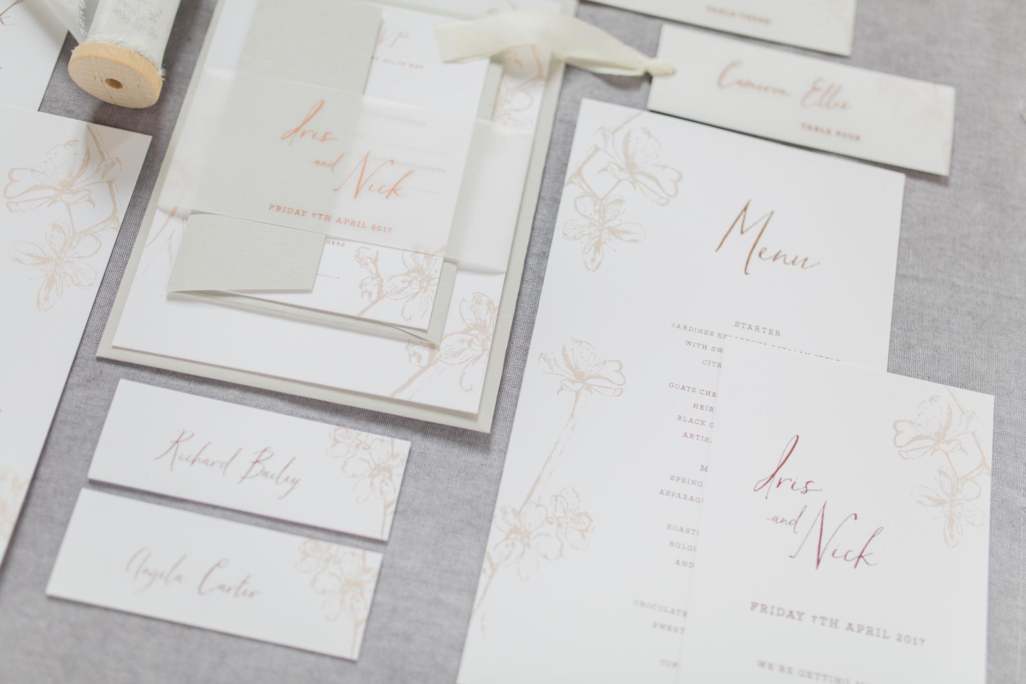 Inkflower Press Plum Blossom silkscreen printed wedding stationery suite - Copper Blush