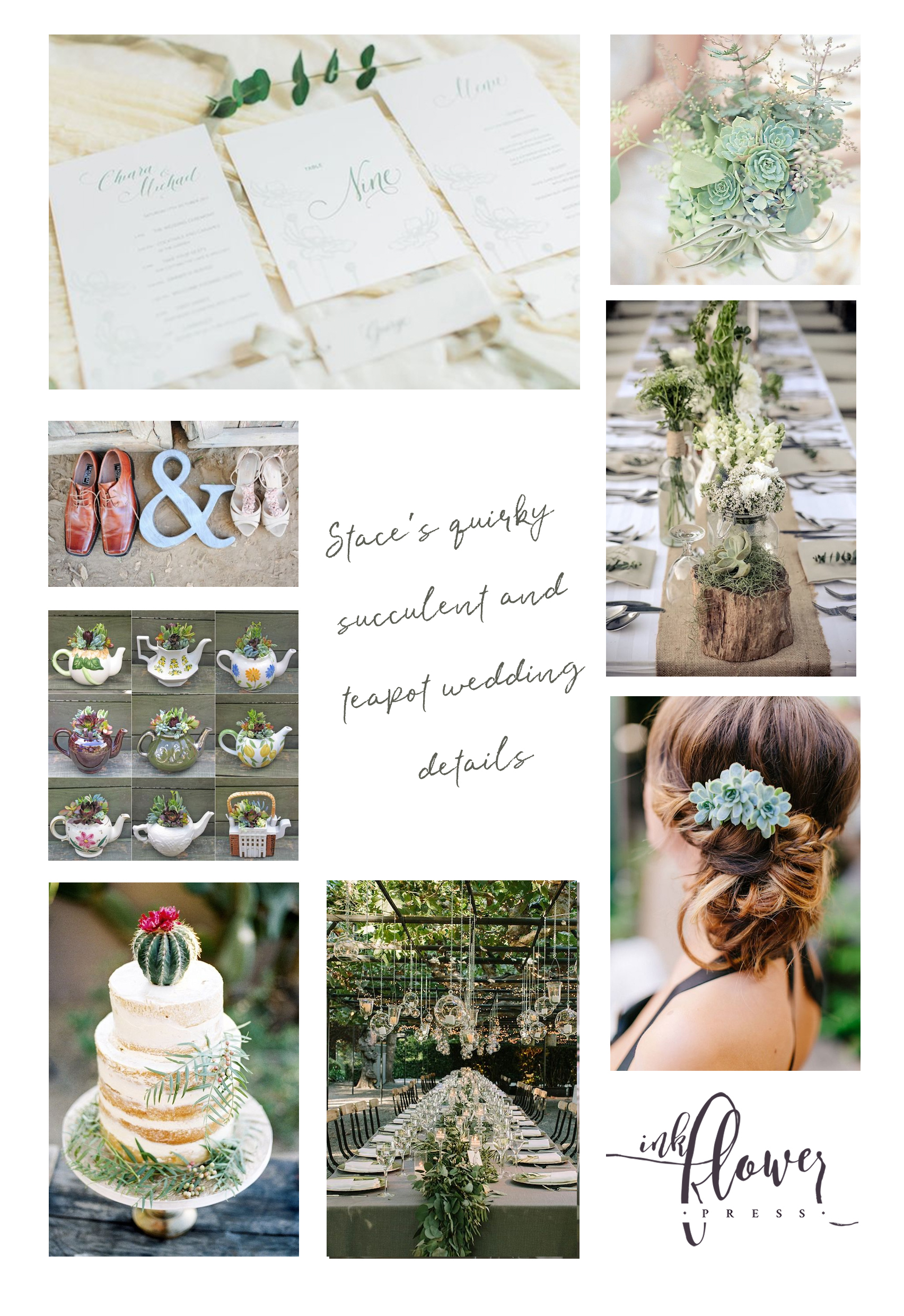 Quirky Succulent and Teapot Wedding Details