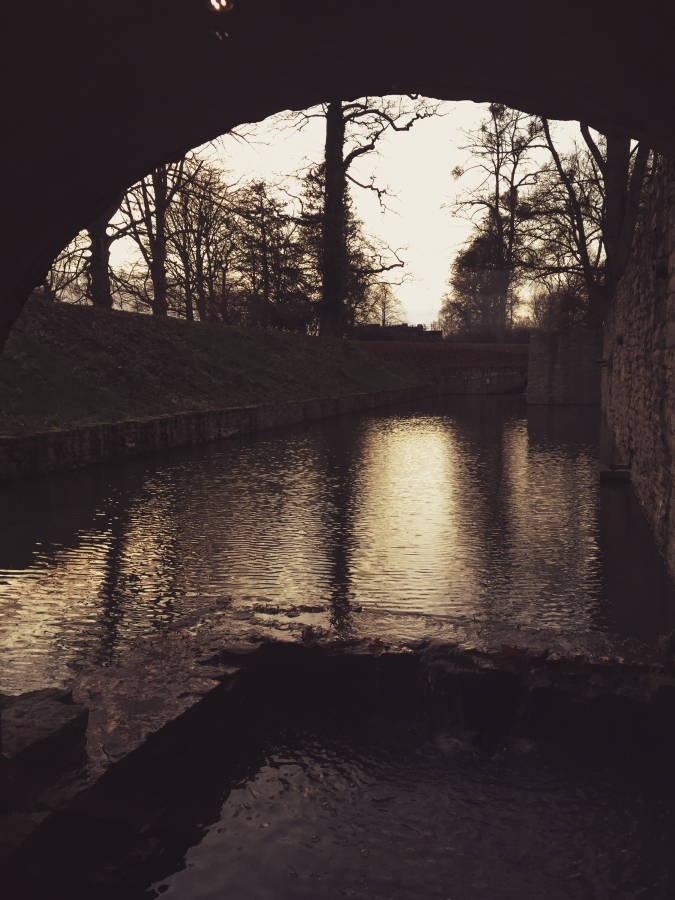 The view from the underground tunnel. The moat surrounds the schloss making it even more picturesque.