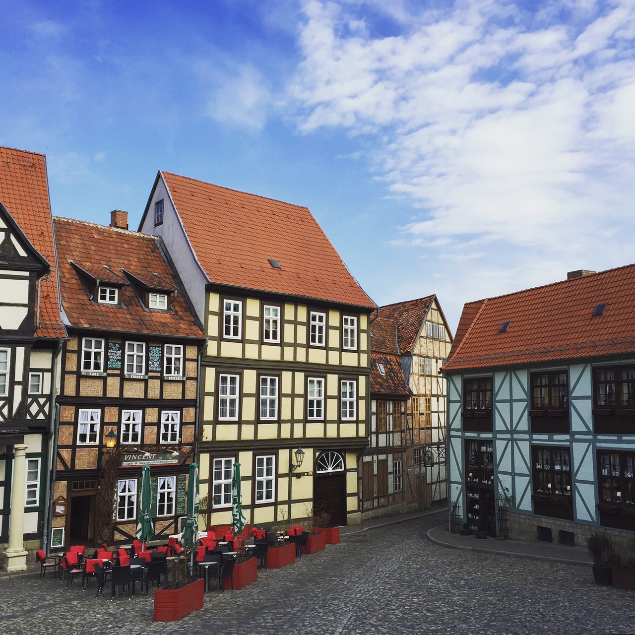 One of the many beautiful squares in Quedlinburg