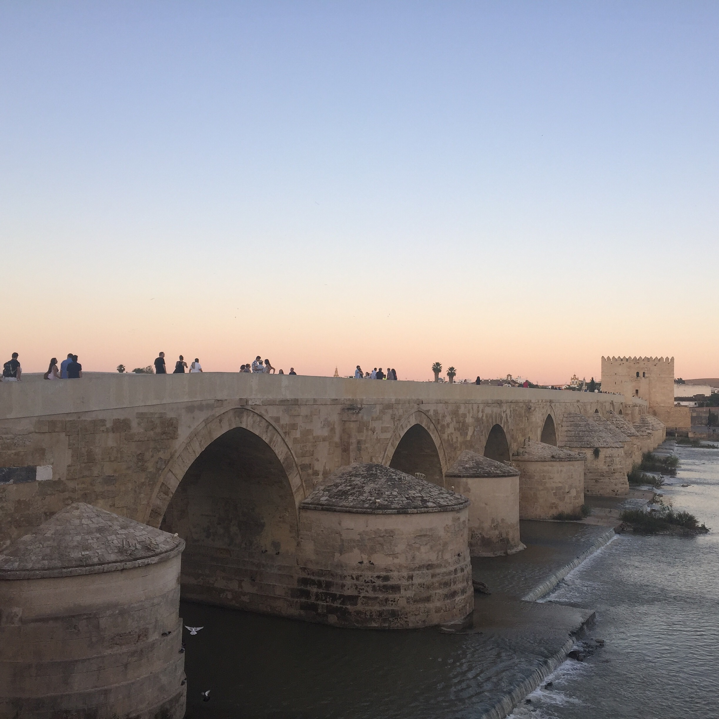 Roman Bridge at Cordoba. The sunset made a pretty town beautiful.