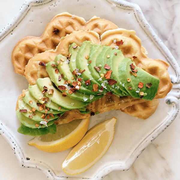 The Social Kitchen's Fluffy Waffles with Avocado amd Chill Flakes