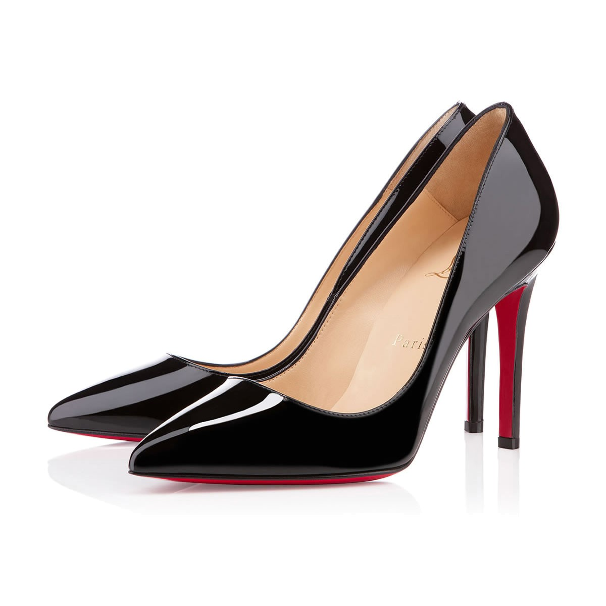 1) Black High Heeled Court Shoes   Christian Louboutin Pigalle Patent 100, £455