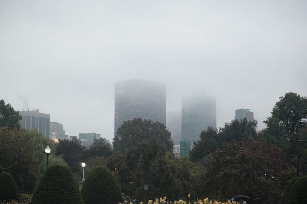 Boston in the mist