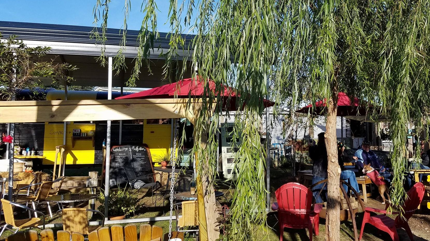 Saturday & Sunday - the Salty Bee is a welcome respite from the heat of the coastal summer sun. You'll find board games, yard games, cool shade and comfy seating as you sip a glass of chilled wine, an ice cold beer, soda & teas.