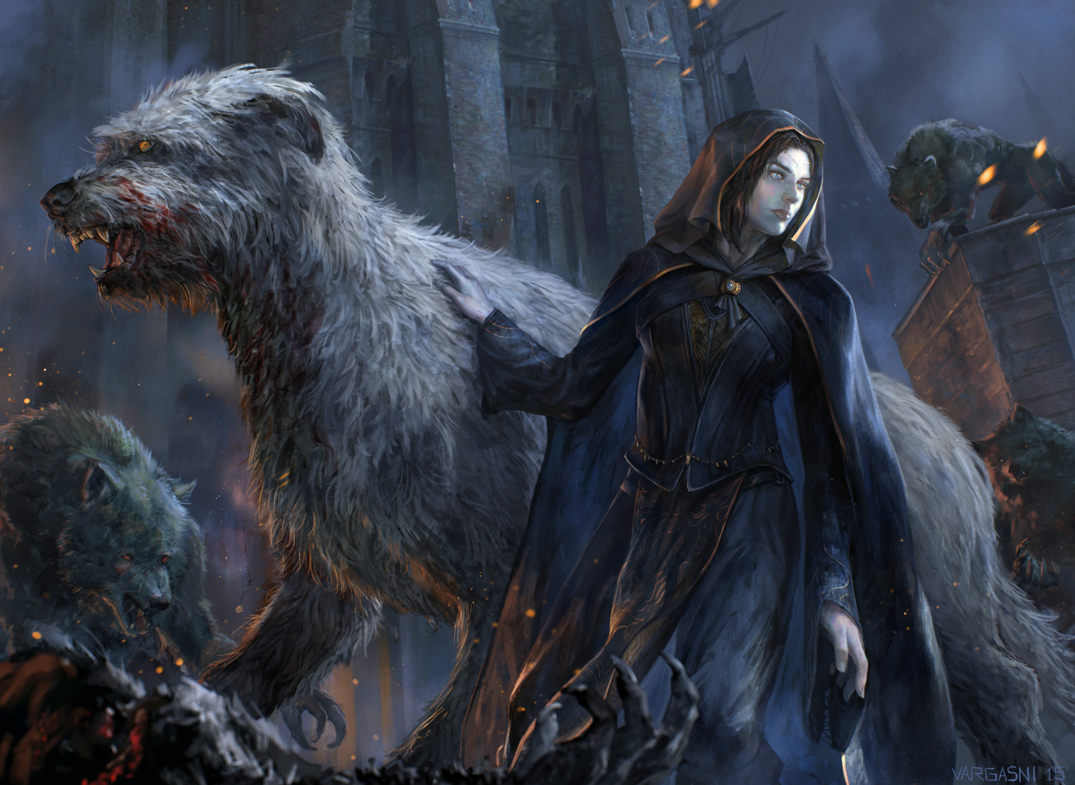 Lúthien and Húan in Tol-in-Gaurhoth