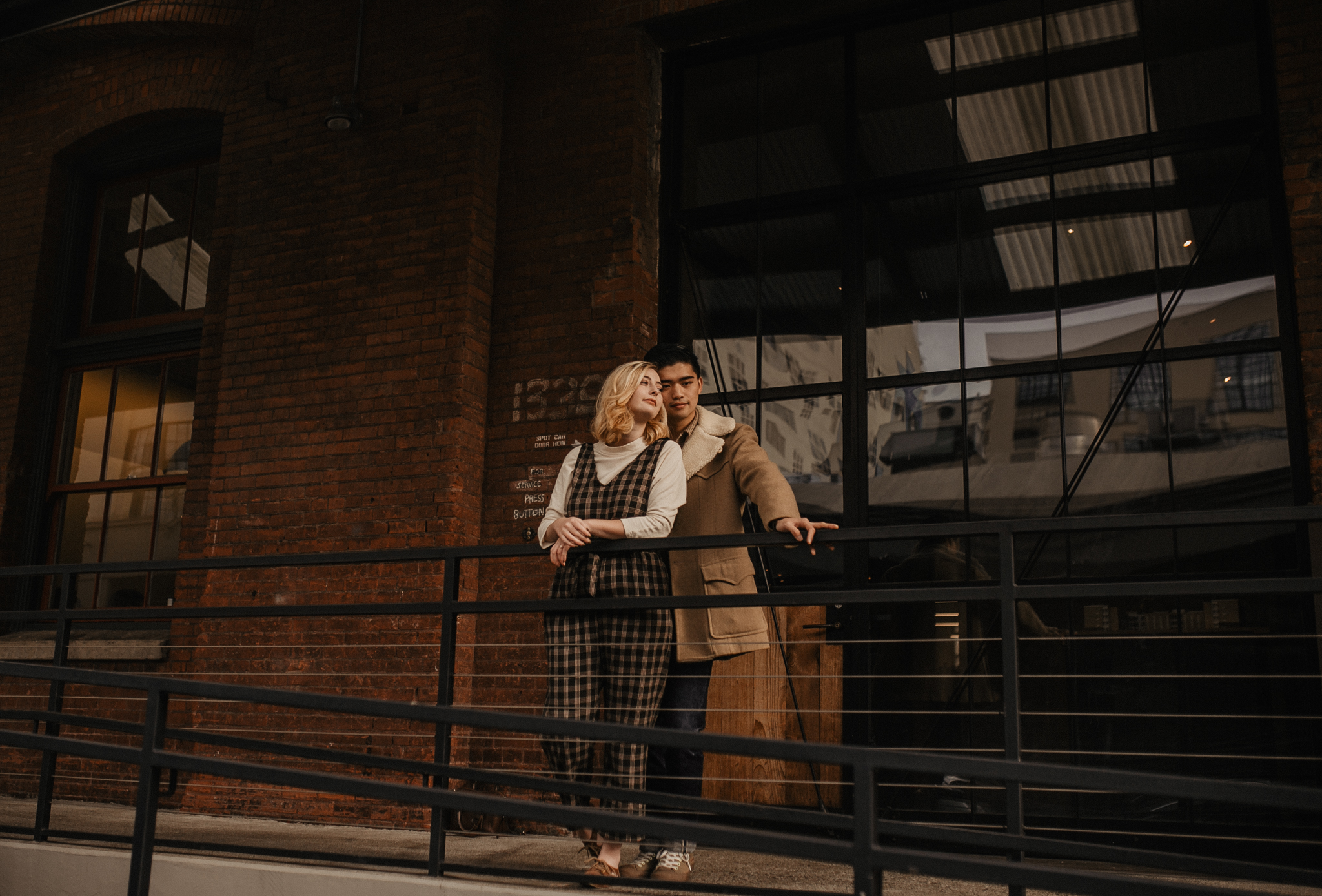 fashionable couple wearing vintage clothing in downtown Portland Oregon
