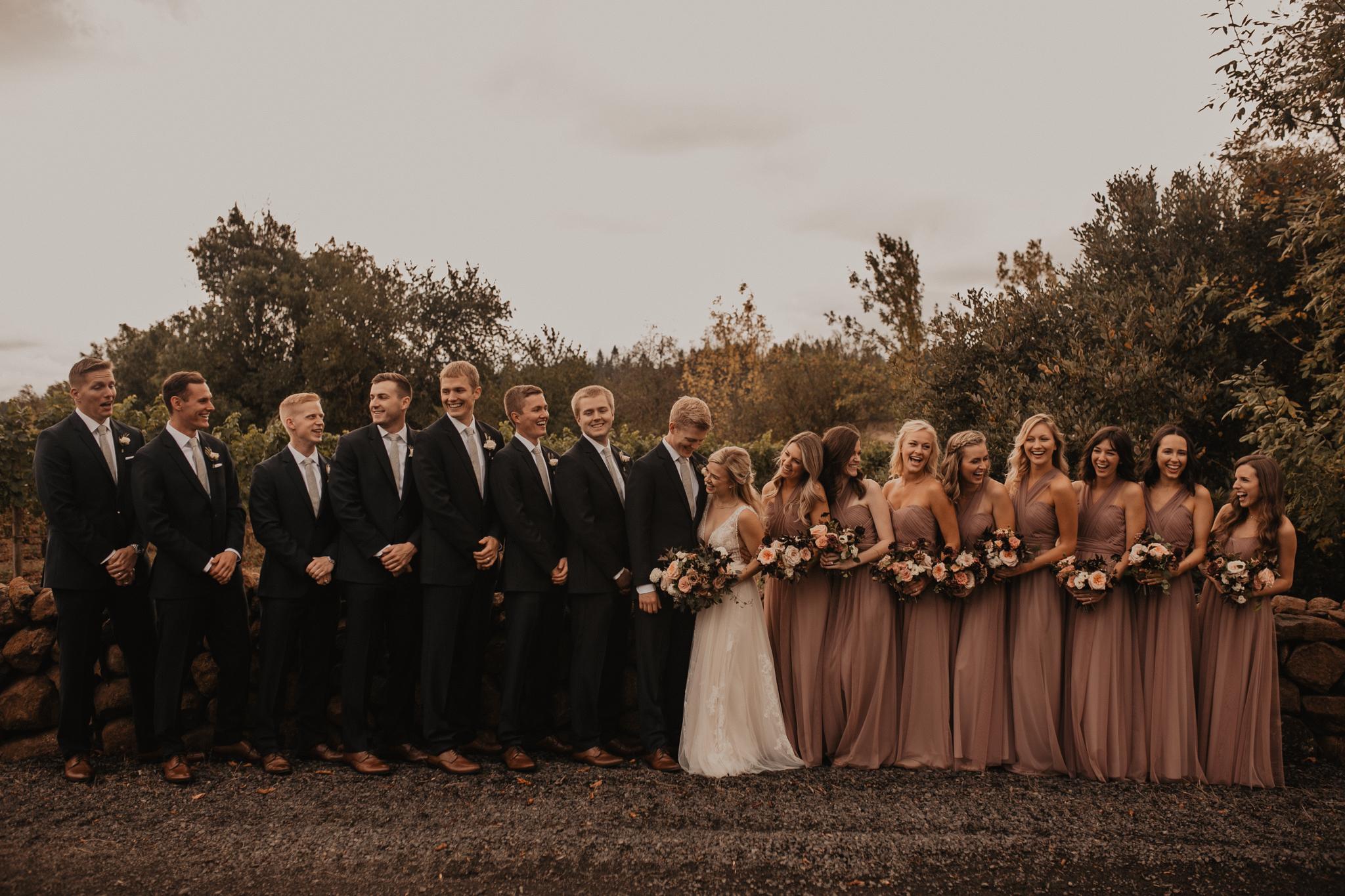 Zenith Vineyard wedding party photos