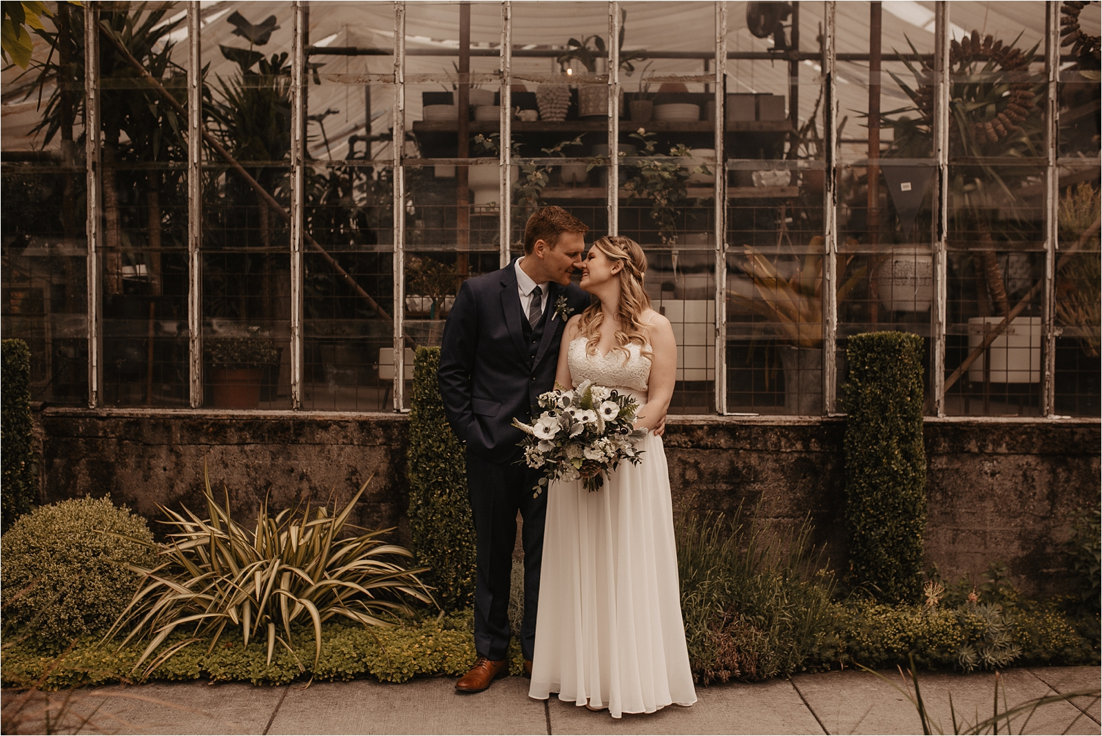 Castaway Urban Wedding in Portland Oregon by the Greenhouse