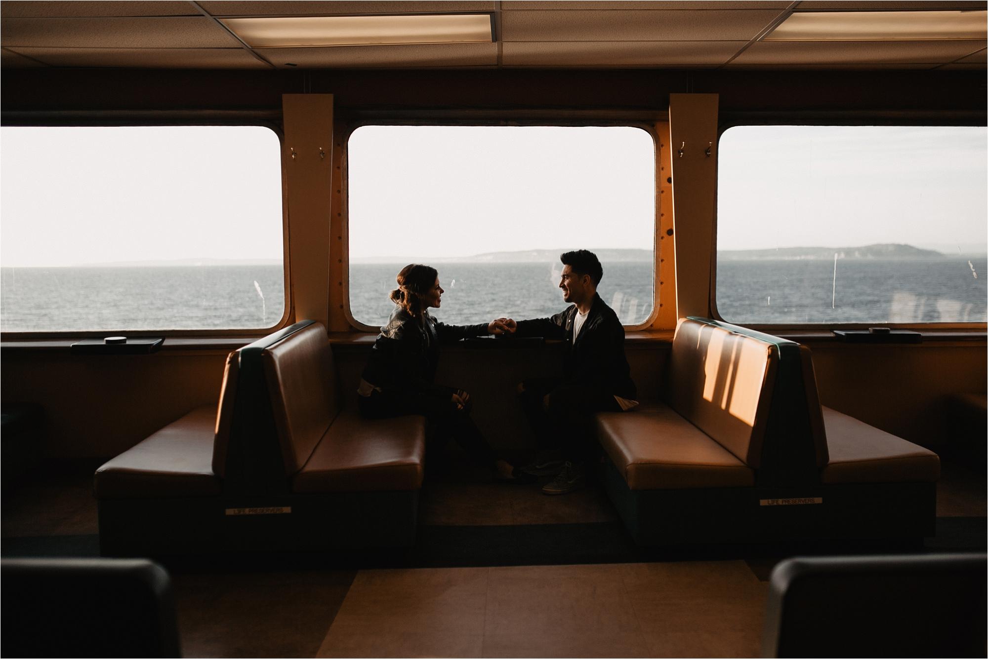 Sunset on the Edmonds Kingston Ferry Washington Couple photos