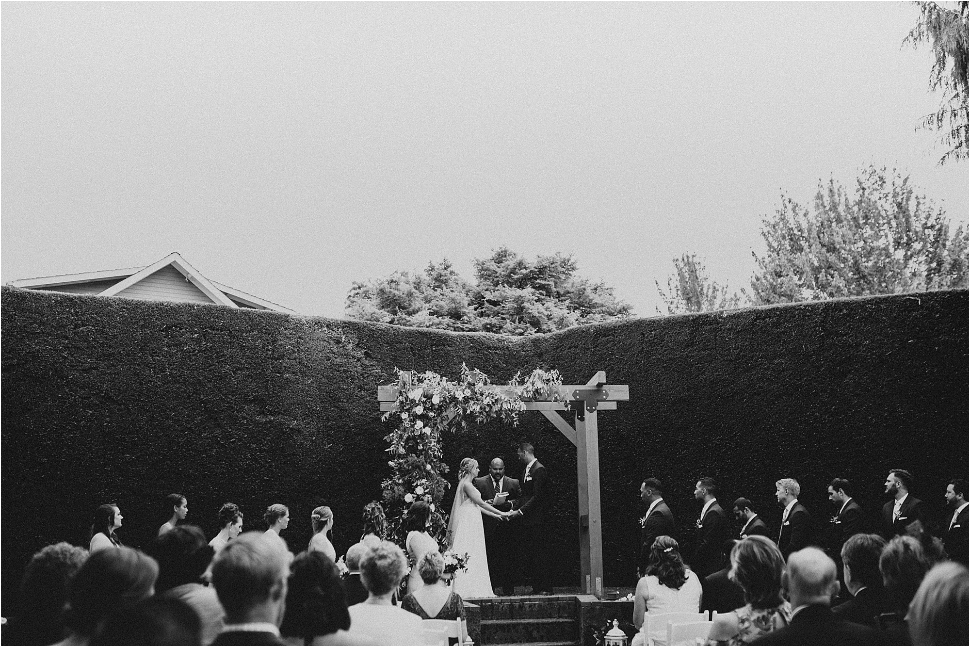 Sauvie Island Wedding Ceremony in the garden