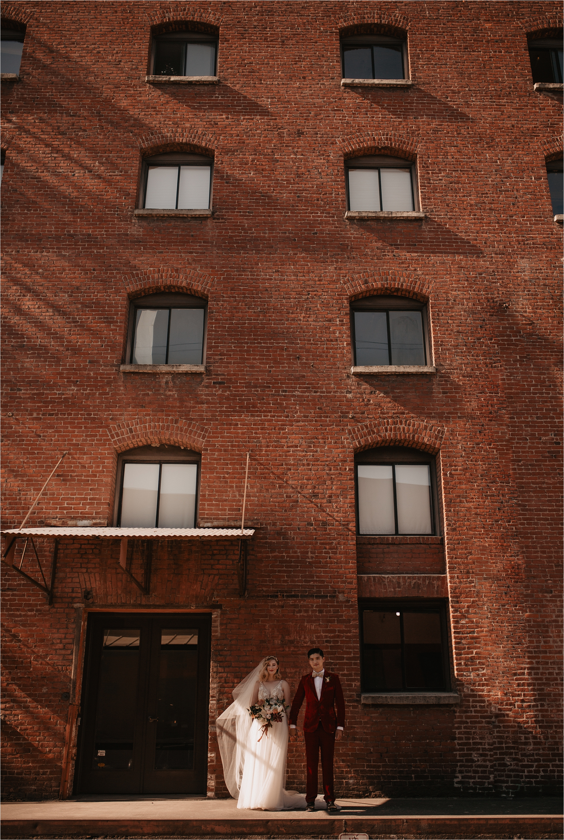 Castaway Portland Brick Wall Urban wedding portraits