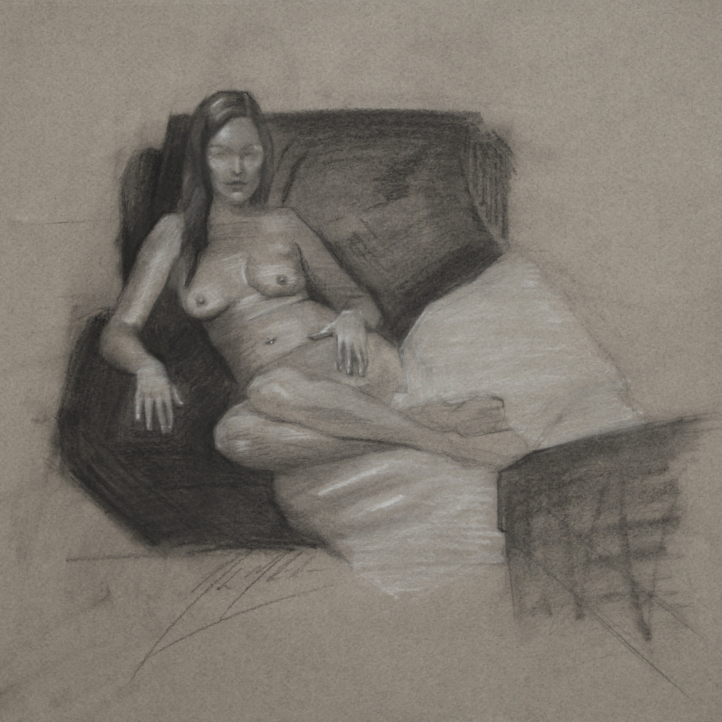 Sierra, 2014, charcoal on paper, 13 x 13 inches