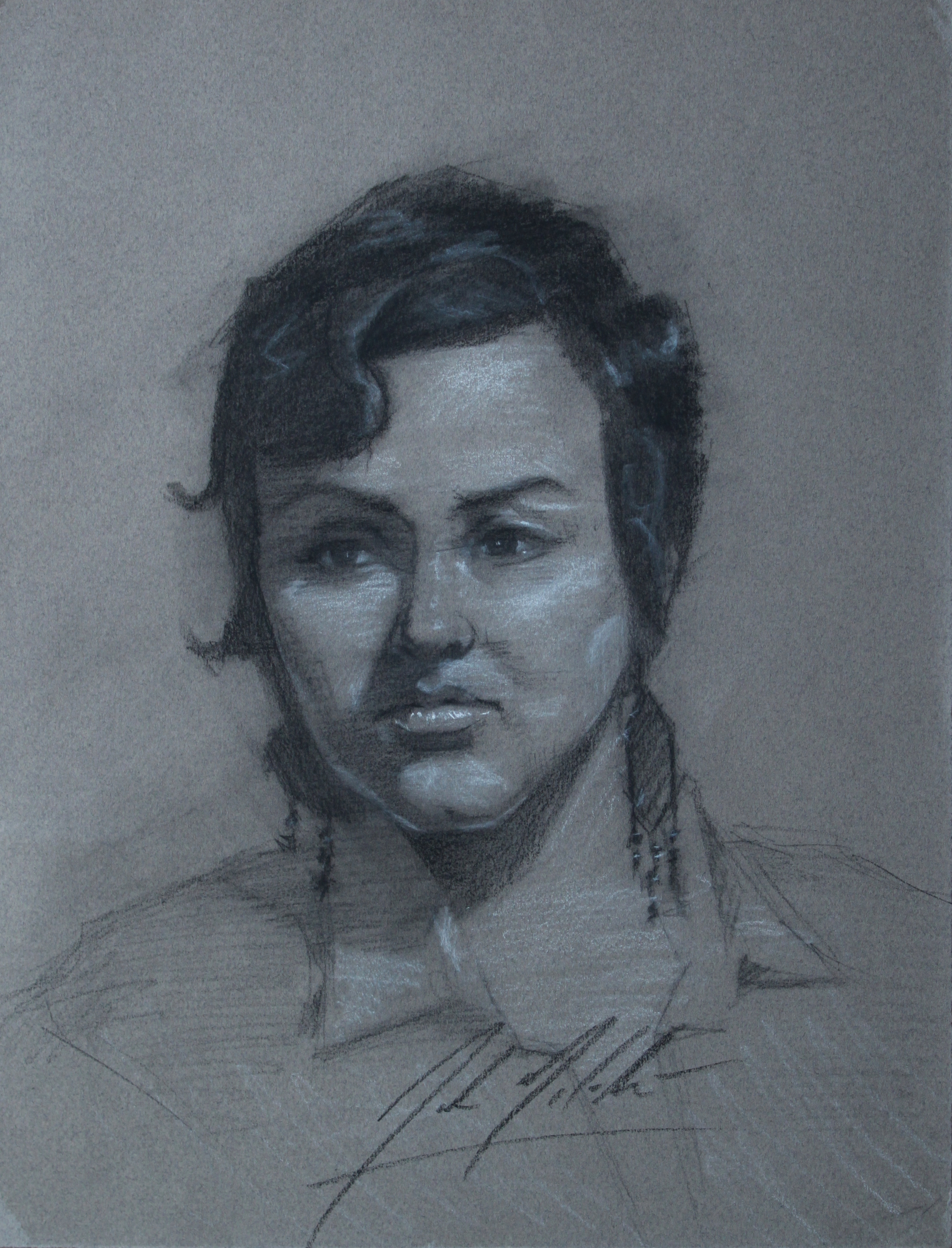 Bandit, 2014, charcoal on paper, 12 x 9 inches