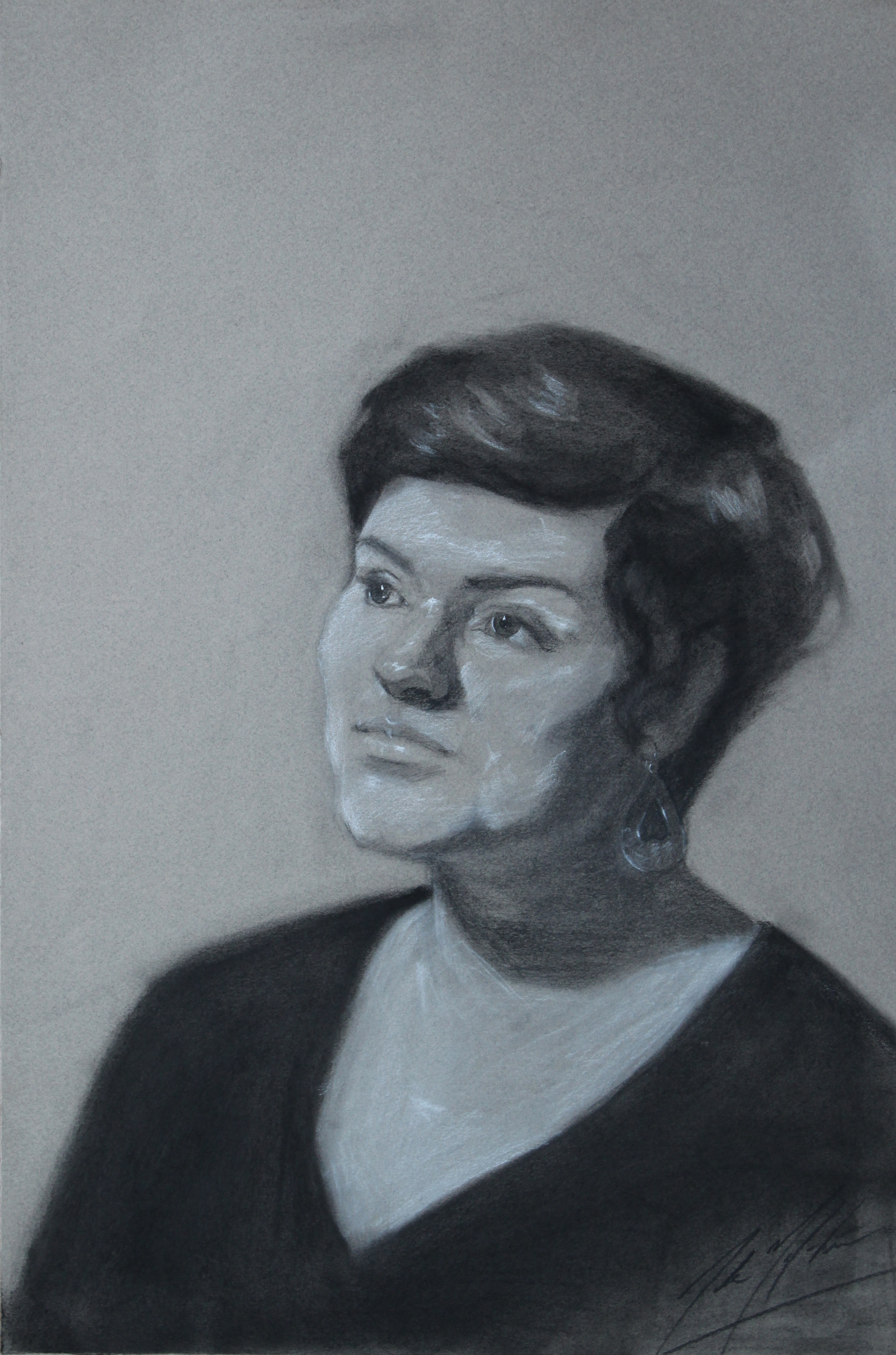 Alexandra, 2014, charcoal on paper, 18 x 12 inches