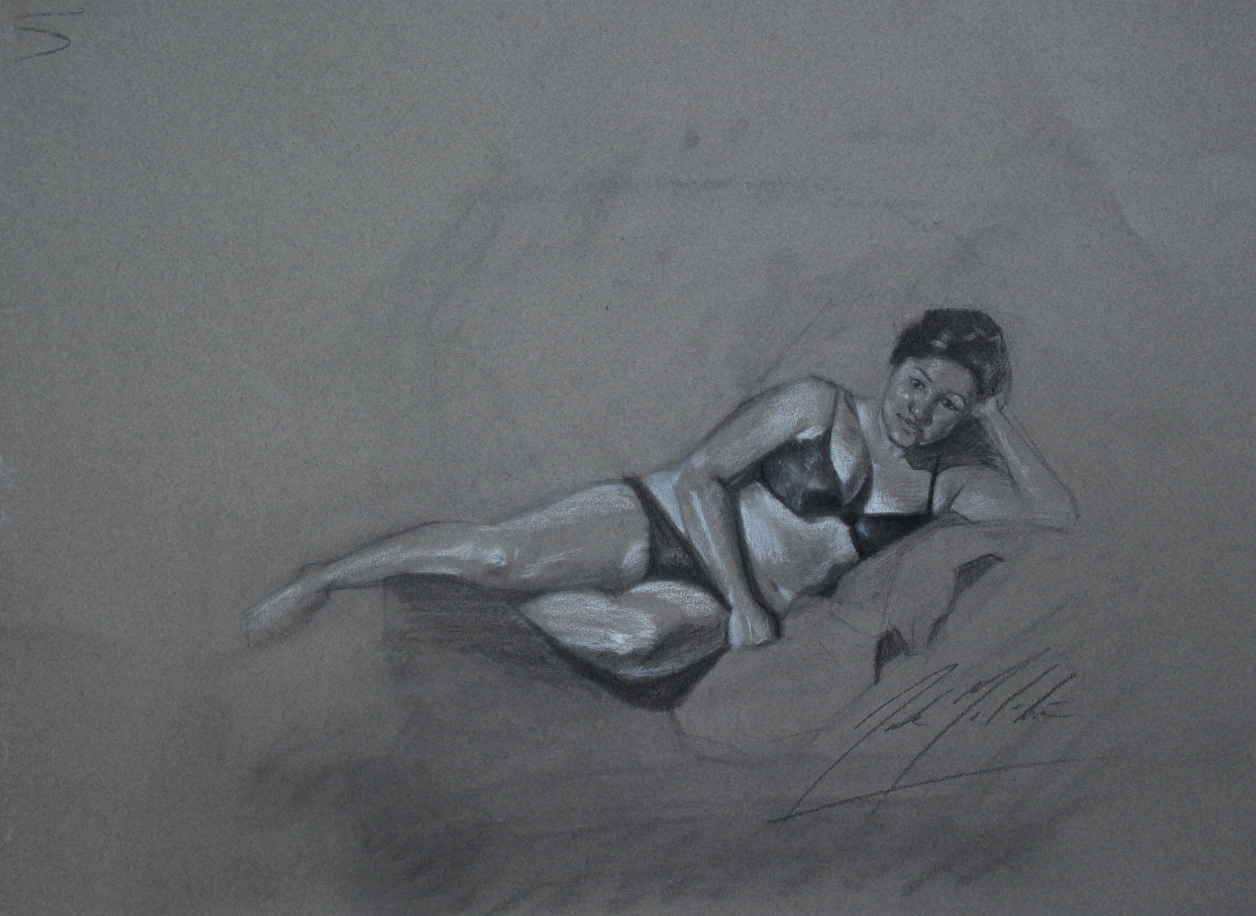 Reclining, 2014, charcoal on paper, 8 x 10 inches