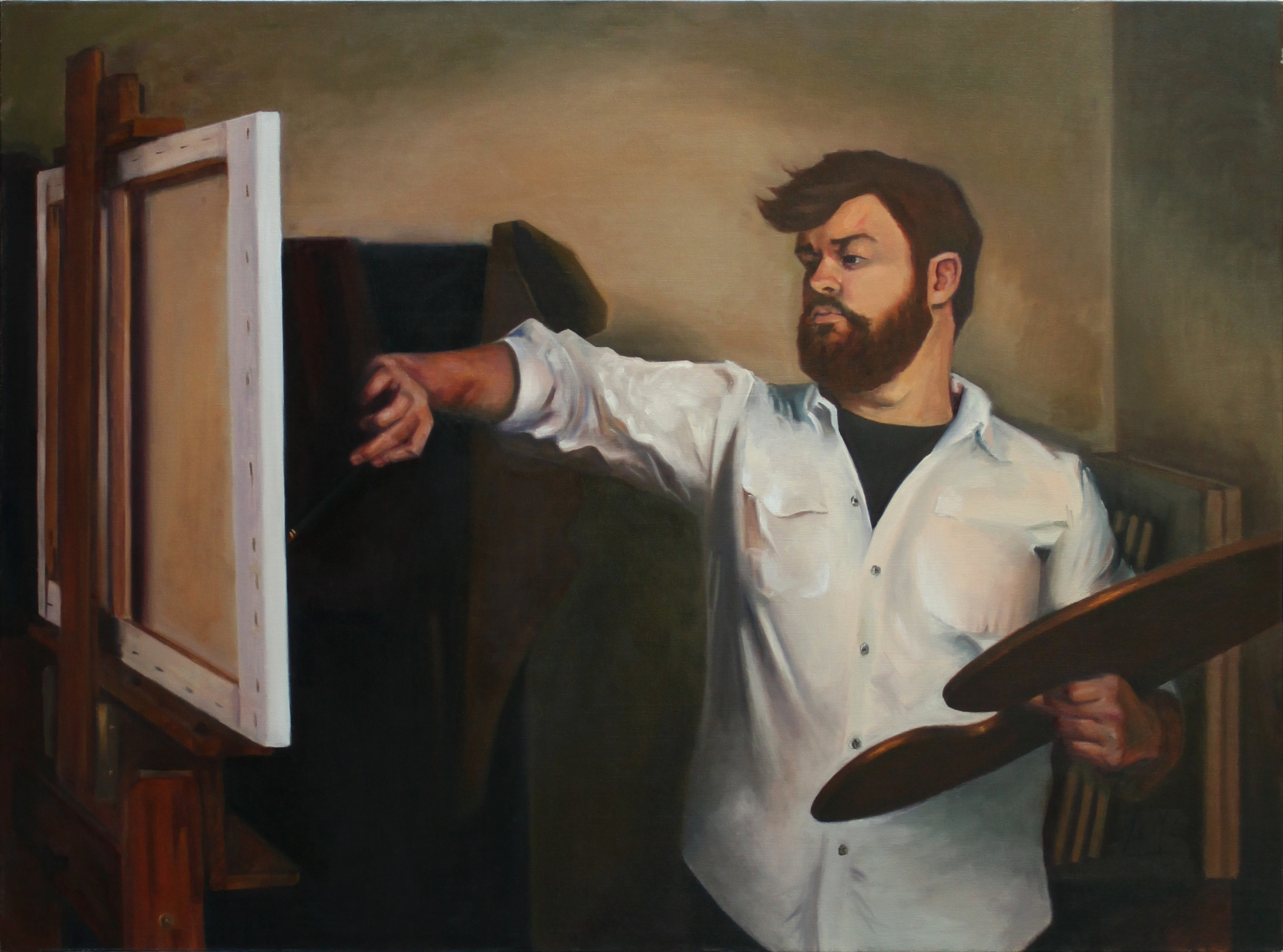 Self Portrait of Artist Painting, 2014, oil on canvas, 36 x 48 inches