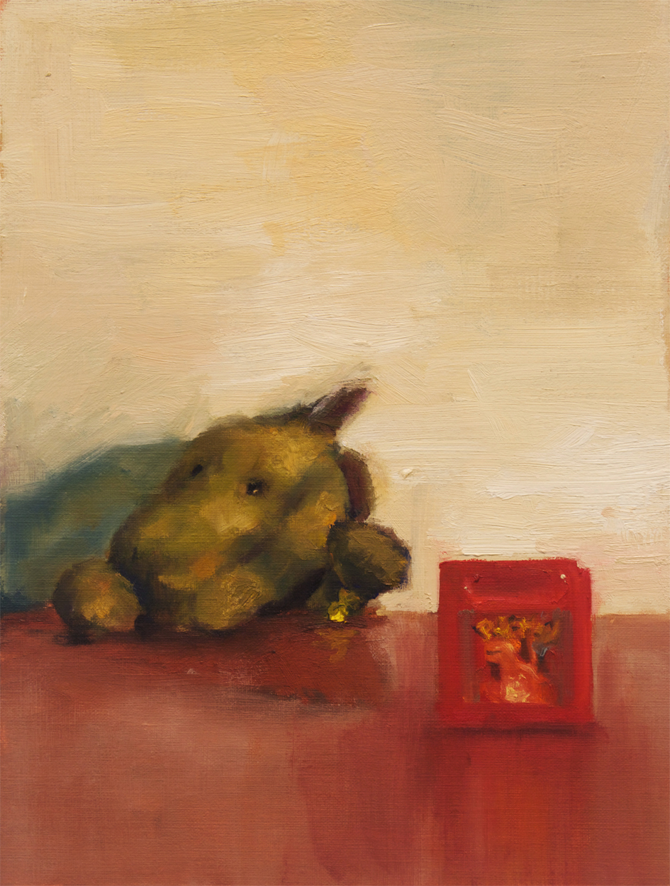 Reaching for Red, 2015, oil on canvas paper, 12 x 9 inches